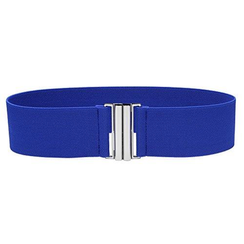 Syuer Womens Wide Elastic Waist Belt Cinch Belt - Blue Belt Buckle
