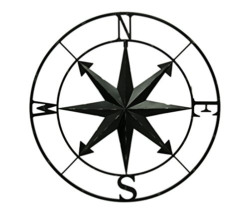 Distressed Metal Indoor/Outdoor Compass Rose Wall Hanging 28 Inch Metal Wall Sculptures Black (Decorative Items Sailing)