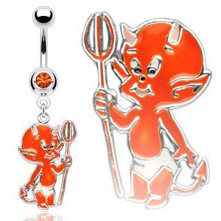 Devil Dangle Belly Ring - tngbodyjewelry.com Cartoon Lil' Devil Dangle Belly Button Navel Ring with Orange CZ