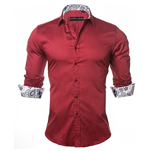 Button Mink Fur Pearl (Men's Shirt Casual Style Long Sleeve Solid Cotton Slim Fit Male Shirts,Red,China L 55kgto60kg)