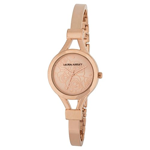 Ashley Bangles - Laura Ashley Women's Silver Thin Bangle with Floral Dial Watch, Rose Gold
