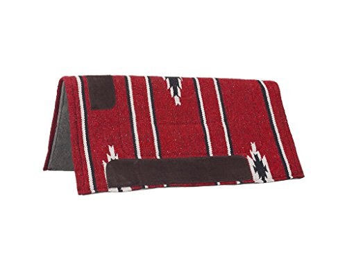 Felt Horse Saddle Pads (Tough 1 Tough-1 Sierra square Saddle Pad/Felt Bottom, Red/black/Cream)