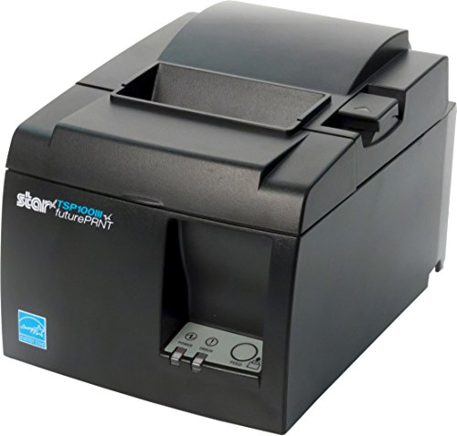 Star Micronics TSP143IIILAN Ethernet (LAN) Thermal Receipt Printer with Auto-cutter and Internal Power Supply - Gray -