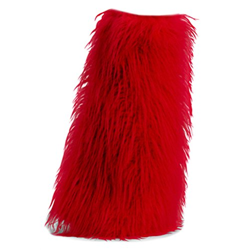 [Women's Boot COVERS Sexy Faux Fur Boot SLEEVE Theatre Costumes Accessory Red] (Sexy Halloween Cost)