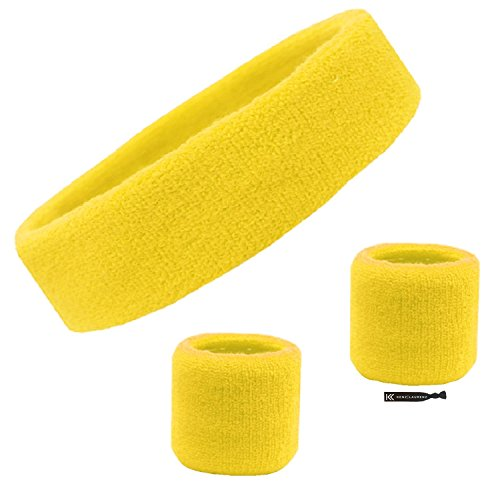 Sweatband Set Cotton Sports Headband Terry Cloth Wristband Moisture Wicking Sweat Absorbing Head Band Athletic Exercise Basketball Wrist Sweatbands and Headbands by Kenz Laurenz (Yellow)