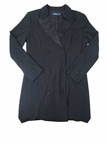 Polo Ralph Lauren Women's Crepe Double-Breasted Jacket (Polo Black, - Black Friday Ralph Polo Lauren