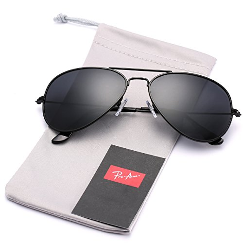 Pro Acme Classic Polarized Aviator Sunglasses for Men and Women UV400 Protection (Black Frame/Black - Sunglasses Black Are