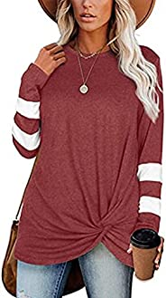 osazic Women Long Color Block Sleeve Twist Knot Sweatshirts Pullover Tops Loose Casual Crewneck Tunic Tops S-X