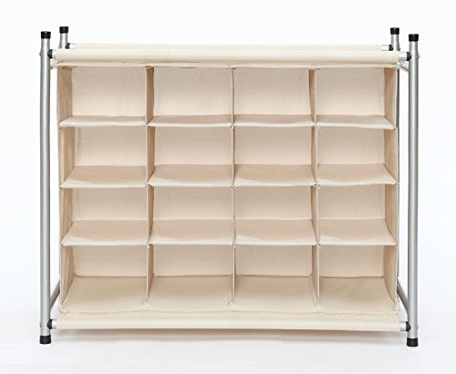StorageManiac 16 Compartment Shoe Rack, 16-Pair Shoes Organizer, 16-Cubby Shoe Storage (Shoe Rack Cubby)