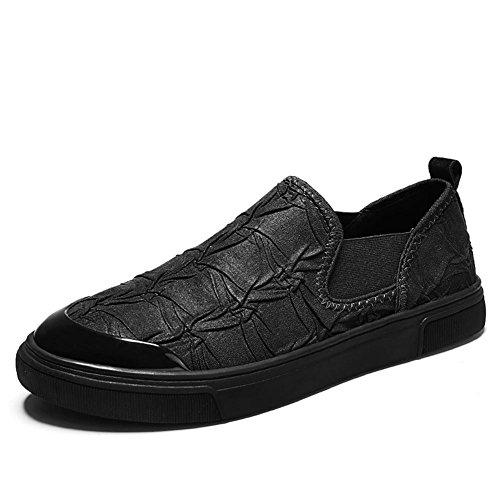 Hommes Glisser sur Décontractée Flâneurs Cuir Respirant Flâneur Mode Appartements Conduite Chaussures Black CT7123