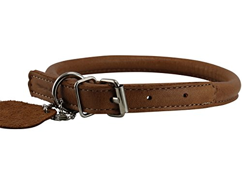Genuine Leather Rolled Dog Collar 15
