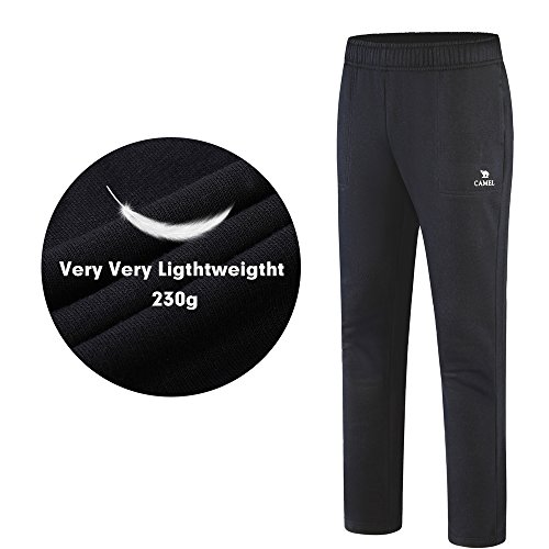 Camel Men's Open Bottom Sweatpants Jogging Pants with Pockets Lightweight