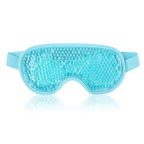 Blue Eye Gel Mask (Cold Eye Mask for Puffy Eyes Reusable Cooling Eye Mask with Gel Bead for Hot Cold Therapy, Stress Relief, Migraine, Headache and Sinus Pain - Blue)