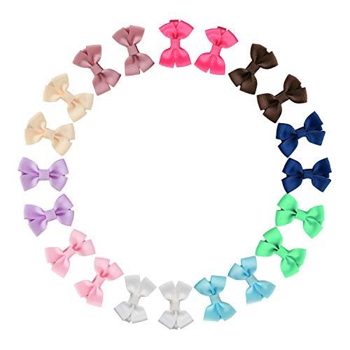 (Shemay 10 Pairs 2 inches Tiny Boutique Grosgrain Ribbon Hair Bows Alligator Clips Barrettes for Baby Girls Toddlers Kids)