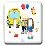 3dRose Alexis Design - Pattern Back To School - Beautiful back to school scene of a school bus, a boy and a girl - Light Switch Covers - double toggle switch (lsp_292906_2)