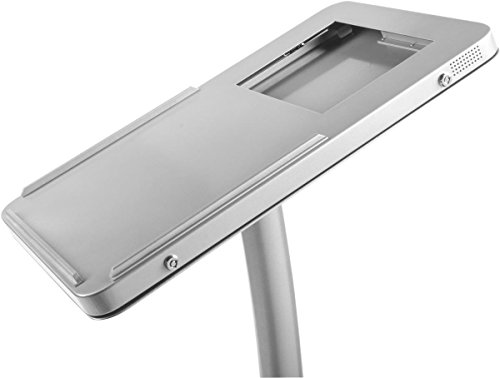 Displays2go Stand for Floor, Ledge for Speaker's Notes, Hinged Enclosure for iPad 2-4 and Air, Aluminum and Steel, Silver (IPPDKT4DSV) by Displays2go (Image #1)