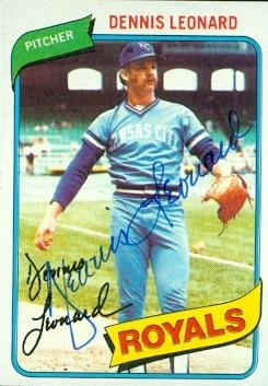 - Autograph Warehouse 97425 Dennis Leonard Autographed Baseball Card Kansas City Royals 1980 Topps No. 565