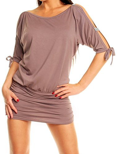 Glamour Empire Womens Open Sleeve Stretchy Jersey Tunic Mini Dress 157 (Cappuccino, US 18/20, 4XL)