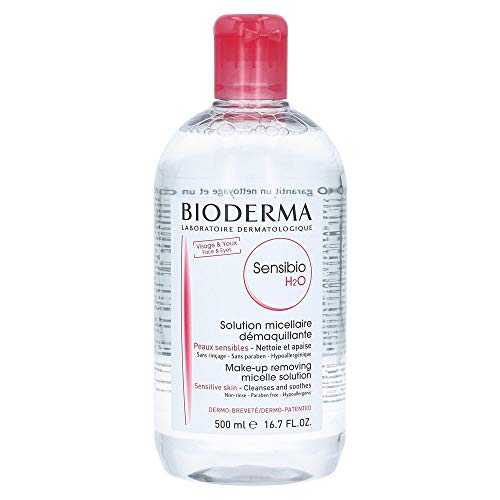 Bioderma Sensibio H2O Micellar Cleansing Water and Makeup Remover Solution for Face and Eyes -...