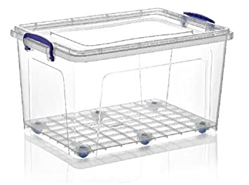 Large 42 Litre Heavy Duty Clear Plastic Storage Box Stackable