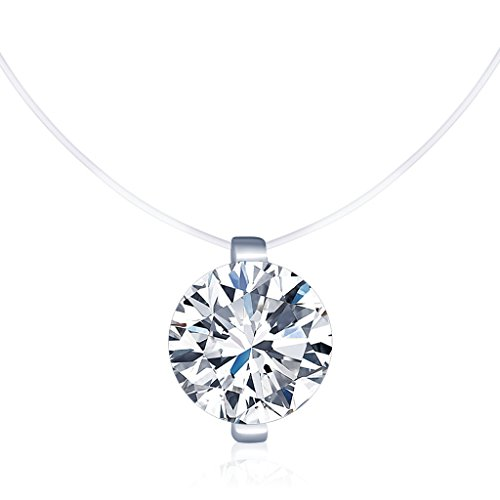Infinite U Solitaire Pendant Necklace 925 Sterling Silver Cubic Zirconia Fishing Line Invisible Choker for Women/Girls, - Pendant Zirconia Cubic