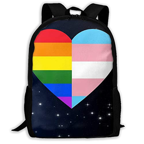 LGBT Rainbow and Transgender Pride Flag Heart School Backpack for Men and Women Girls Computer Bag Bookbag Backpack for College Students Or Business Professionals