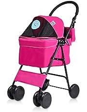 Hundbuggy buggy barnvagn husdjur-lekrum-promenadvagn hund barnvagn promenadhållare vikbar Cat Cage utomhus rese-buggy hundvagn hundar resor rosa