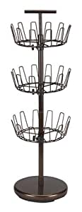 Household Essentials 2138 Three-Tier Adjustable Revolving Shoe Rack | Bronze