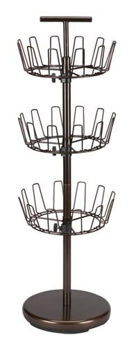 Household Essentials 2138 Three-Tier Adjustable Revolving Shoe Rack -