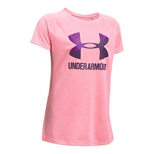 Under Armour Girls' Novelty Big Logo Short Sleeve T-Shirt,Pop Pink/Indulge, Youth X-Large (Apparel Pink Pop)
