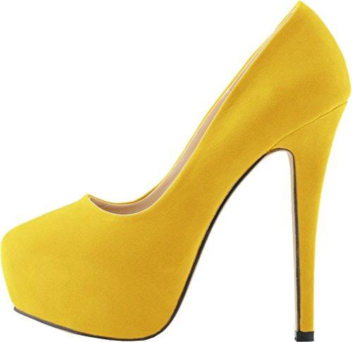 Nubuklumpen Erhöhen Geschlossene Nachtclub Salabobo Slip ON Ferse Plattform Hohe Sexy Gelb Mode Party Zehe Damen wxO4qYF
