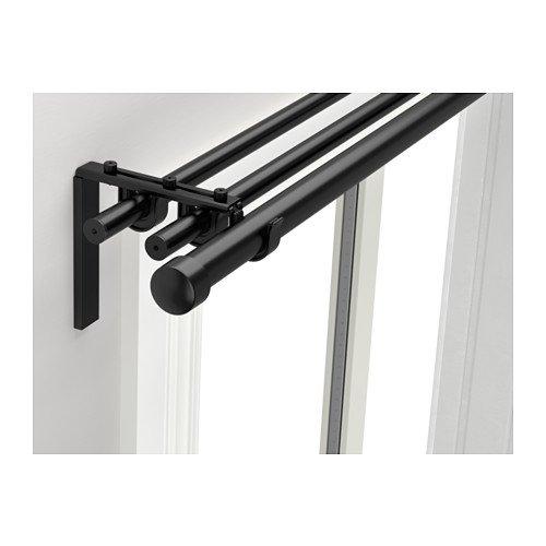 Ikea Triple curtain rod combination, black 82 5/8-151 5/8