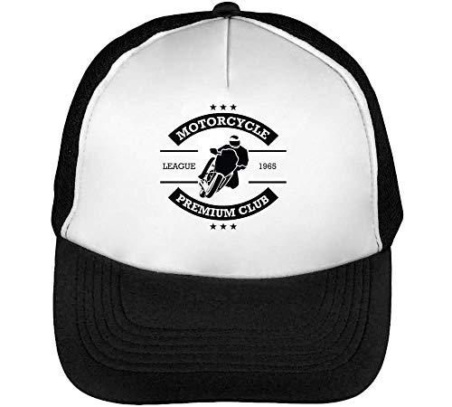 Sport Badge Motorcycle Premium Club Gorras Hombre Snapback Beisbol Negro Blanco