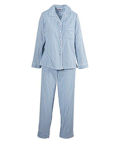 National Long Sleeve Flannel Pajamas, Blue, Medium - - Striped Blue Pajamas