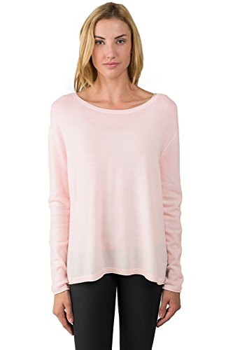 JENNIE LIU Women's 100% Cashmere Long Sleeve Boatneck High Low Dolman Sweater (S, PinkPearl)