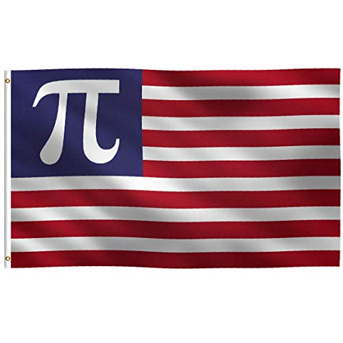 K-AXIS 3x5 Foot Pi Symbol American Flag: 100% Polyester Banner, Strong Canvas Header with 2 Brass Grommets, UV Resistant Vibrant Digital Print, for Use Outdoor or ()