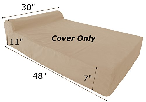 Removable See Through Headrest (Replacement Cover for Dog Bed - Headrest Edition - Large - Khaki - Fits other bed brands as well!)