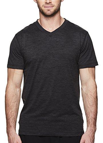 Gaiam Men's Everyday Basic V Neck T Shirt - Short Sleeve Yoga & Workout Top - Black Heather Everyday, Medium