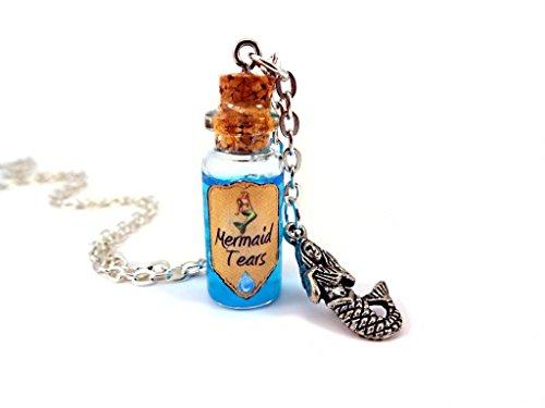 Little Gem Girl Mermaid Tears Glass Bottle Liquid Shimmer Potion Necklace Magic Fairy Tale Charm -