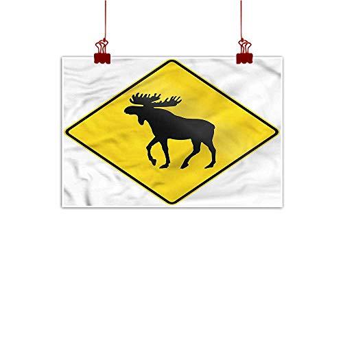 Anyangeight Decorative Music Urban Graffiti Art Print Moose,Elk Crossing Traffic Sign 36