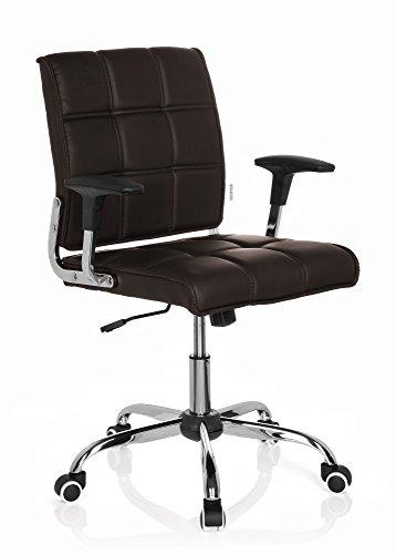 hjh OFFICE 719030 silla giratoria ERNESTO piel sintetica marron oscuro silla oficina con brazos estilo retro vintage