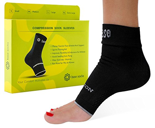 Plantar Fasciitis Socks Compression Foot Sleeves – Ideal for Foot Care, Ankle and Arch Support for Men and Women – Heel and Foot Pain Aid, S-M-L-XL (Black) – DiZiSports Store
