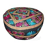 Yoga and Meditation Cushion - Hand Crafted. Pushkar Pouff 18'' Round, 19'' H (Pouf)