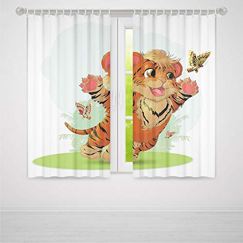 (YOLIYANA Door Curtain,Cartoon Decor,for Living Room,Little Cub Playing with Butterflies in The Meadow Joyful Lively Baby Tiger Cat2 Panel Set,103W X 94L Inches)