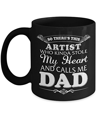 Artist Mug Comical Worlds Papa Gifts on Father's Day For Best Dad Ever Loves Coffee Tea and Travel as Seen on Daddy T Shirt, 11 Oz Ceramic Cup