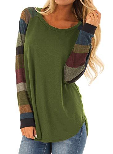 - Womens Fall Fashion 2018 WomensTops Causal LooseTunic Shirts Blouses Color Block Long Sleeve O Neck Sweatshirts Pullover X-Large Green