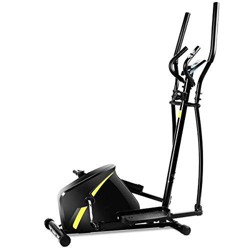 Goplus Portable Elliptical Machine, Magnetic Trainer with Digital Monitor Display & Pulse Rate Grips Elliptical Training Machine (Black)