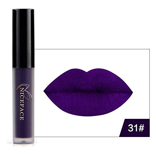 Inspiration from Halloween - Striking Lip Gloss Matte Liquid Lipstick -Waterproof Long Lasting- Intense Madly Color - 6 Shades Beauty Makeup Gothic Rocked Look, by DMZing (Dark - Shades Dark Purple