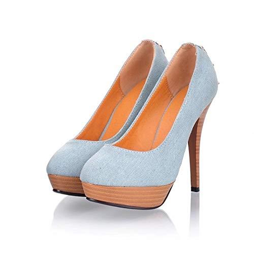 Spring amp; Blue Royal Canvas Blue Blue ZHZNVX Zapatos Heel Comfort Dark de Dark Heels Summer Stiletto Mujer 7xTxIUn