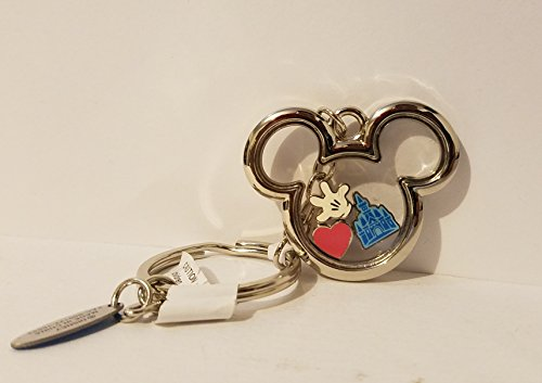 (Disney Parks Walt Disney World Mickey Mouse Shape Metal Keychain w/ Charms)